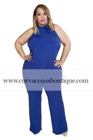 Blue Mock Neck Jumpsuit