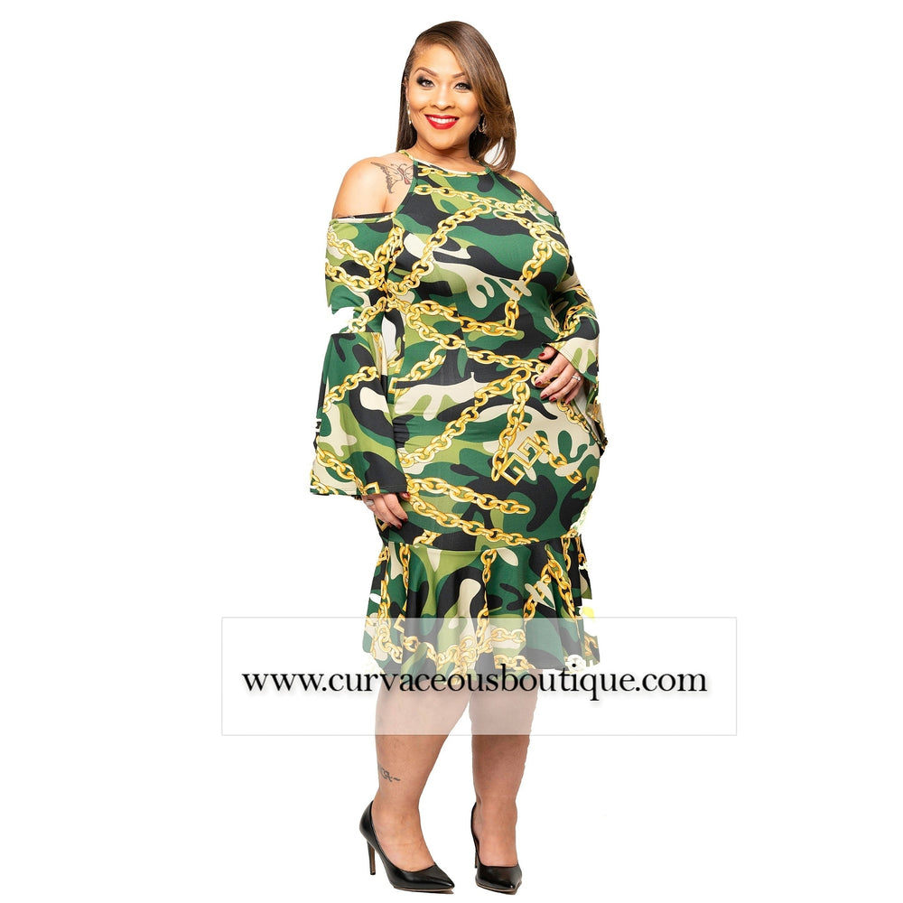 Dara Camouflage Chain Bell Sleeve Dress