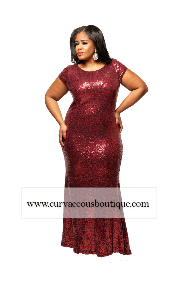 Burgundy Campbell Sequin Gown