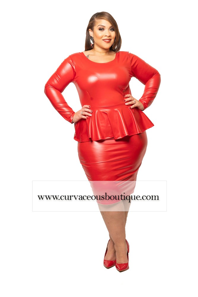 Red Peppi Peplum Dress