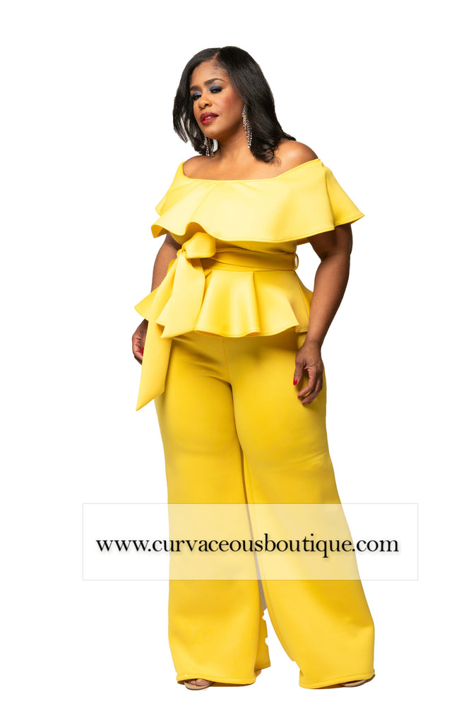 Yellow Cremier Peplum Jumpsuit
