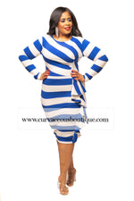 Royal Blue Savannah Stripe Ruffle Dress