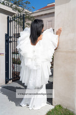 Ivory Whitney Chiffon Draped Gown