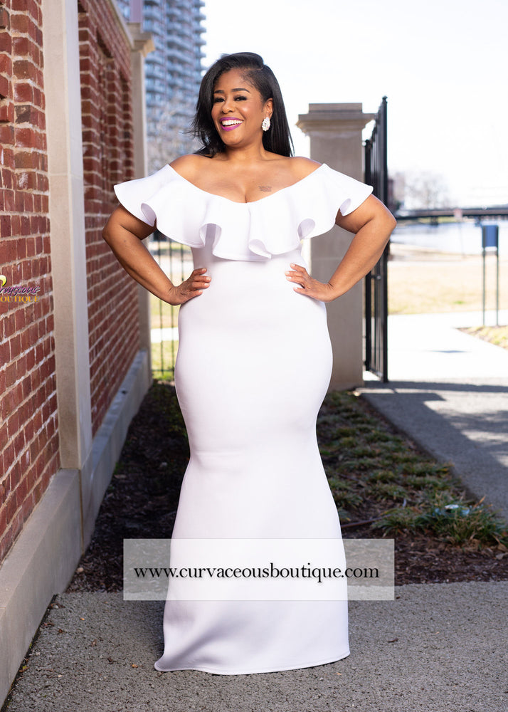 White Chandler Ruffle Gown