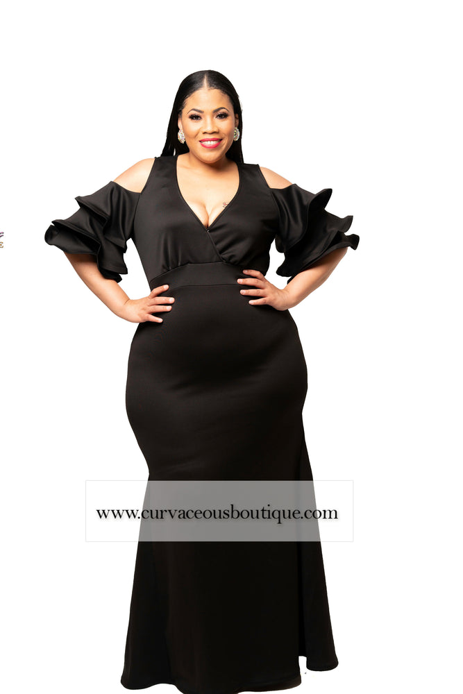 Black Carlisa Cold Shoulder Gown
