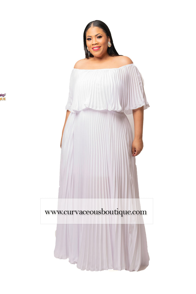 Off White Tiff Pleated Offf Shoulder Dress