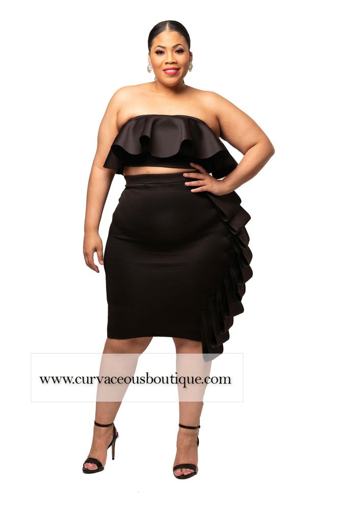 Black Chanel Ruffle Skirt Set