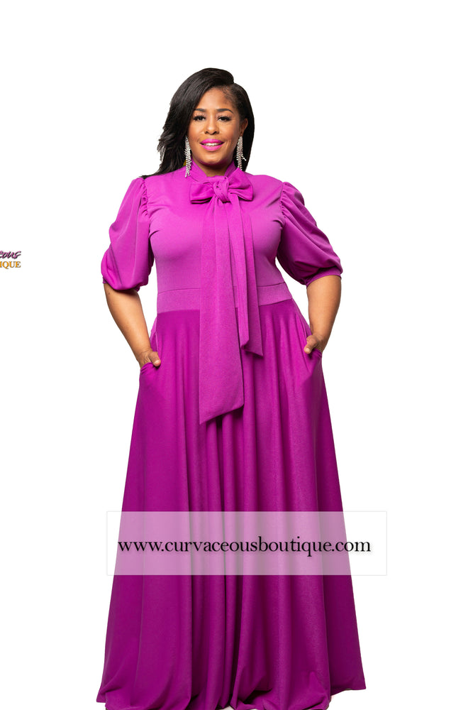 Magenta Tessa Bow Tie Maxi Dress