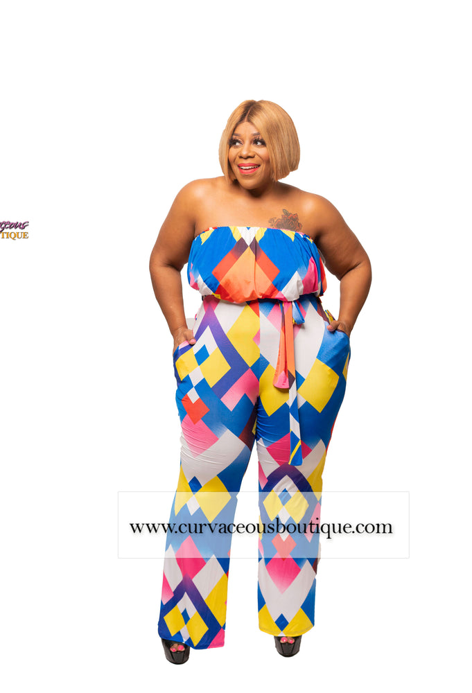Blue Jonie Abstract Jumpsuit