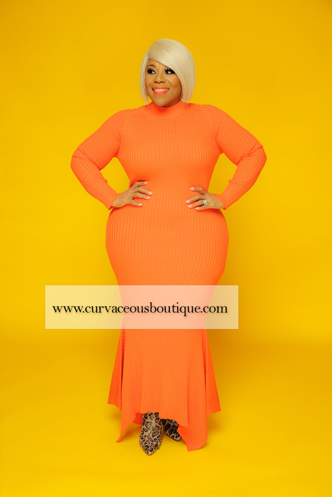 Orange Erica Sweater Dress