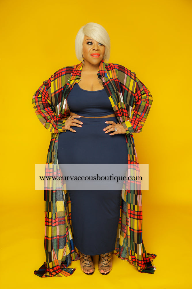 Colorful Plaid A-line Maxi Dress
