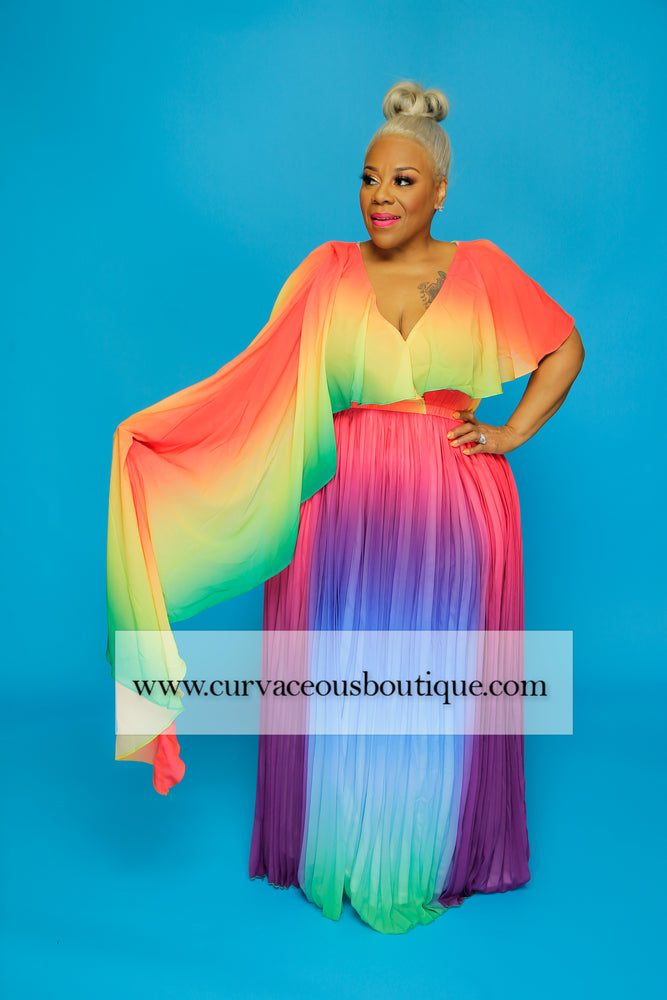Rainbow Pleated Dress