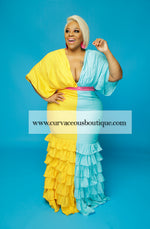 Chiquita Yellow & Turquoise Dress