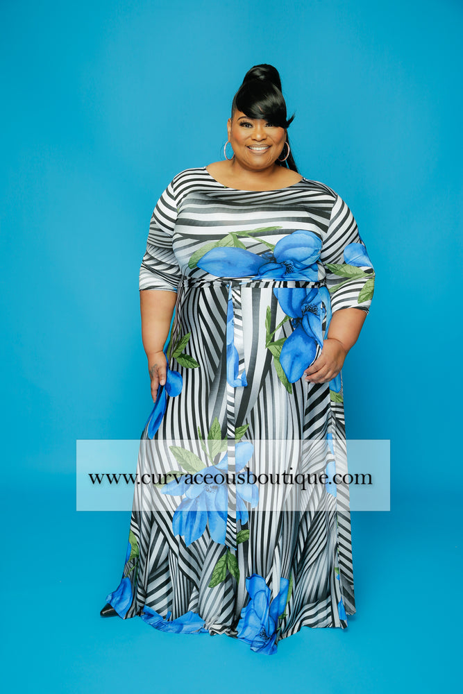 Extended Blue Flower Gabby Dress