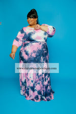 Extended Size Pink Tie Dye Gabby Dress