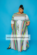 Extended Size Orange Stripe Gabby Dress