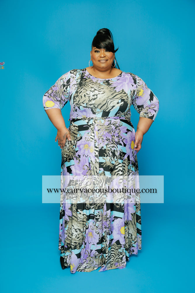 Extended Size Purple Flower Gabby Dress