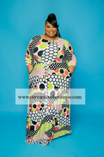Extended Size Orange Polka Dot Print Gabby  Maxi Dress