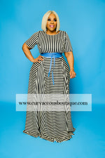Micah Beige Stripe Maxi Dress