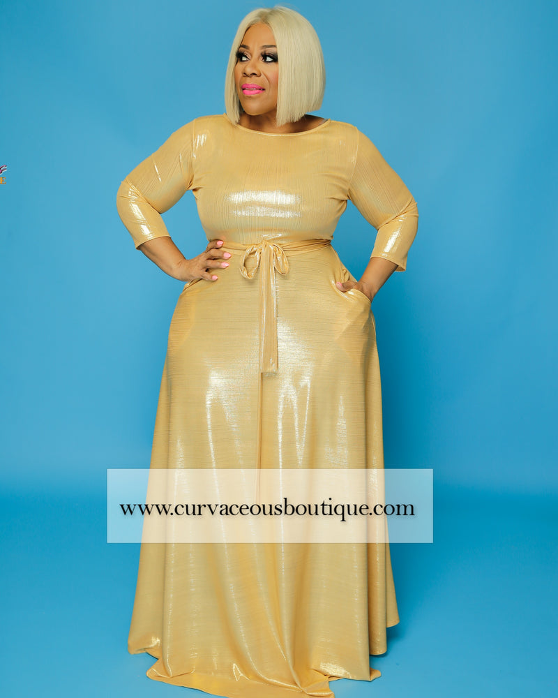 Gold Metallic Gabby Maxi Dress