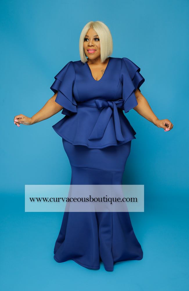 Royal Blue Voluptuous Skirt Set