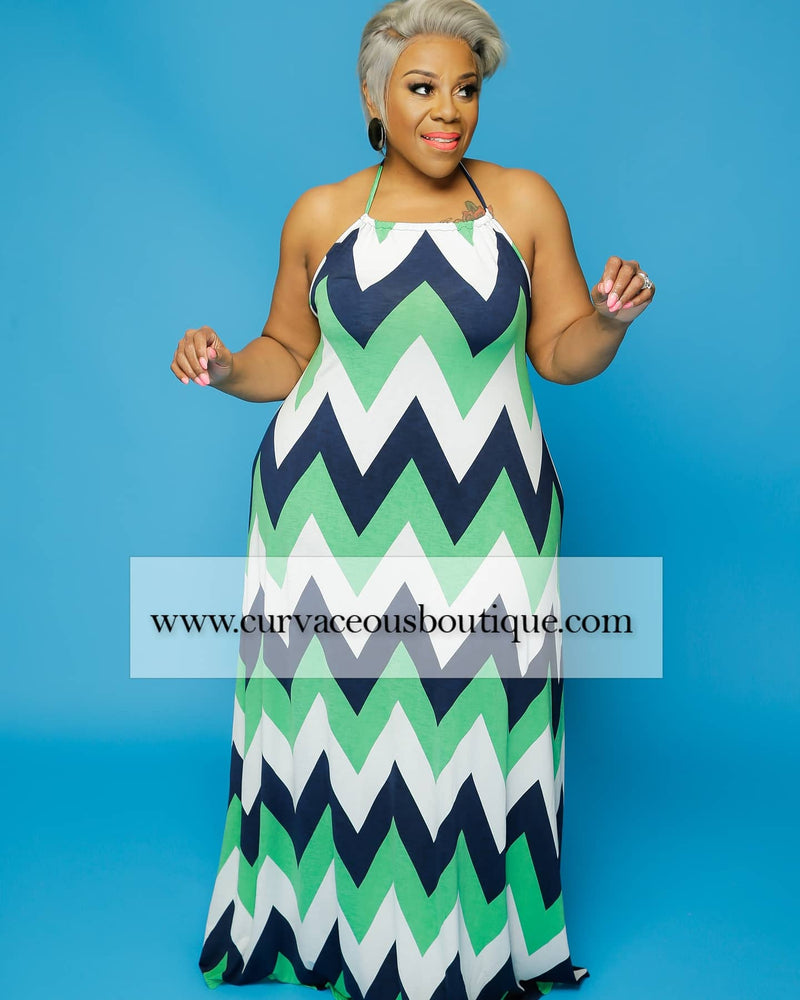 Green Zig-Zag Maxi Dress