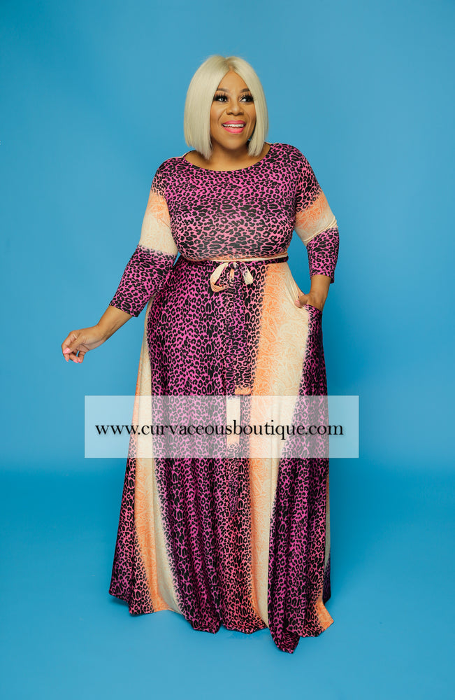 Pink Cheetah Gabby Maxi Dress