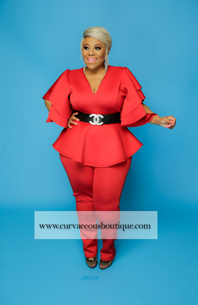 Red Voluptuous Skinny Set