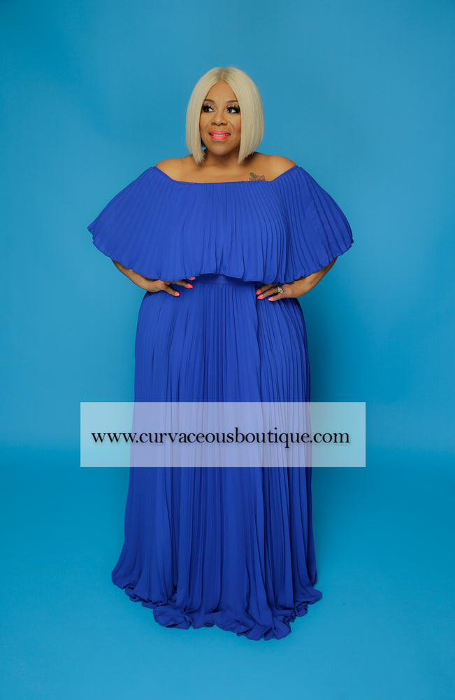 Royal Blue Tiff Pleated Off Shoulder Dress