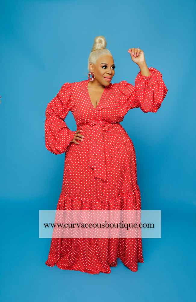 Red Polka Dot Maxi Dress  Curvaceous Boutique-3806