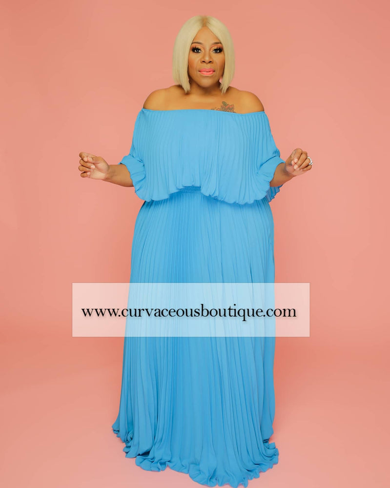 Turquoise Tiff Pleated Off Shoulder Dress