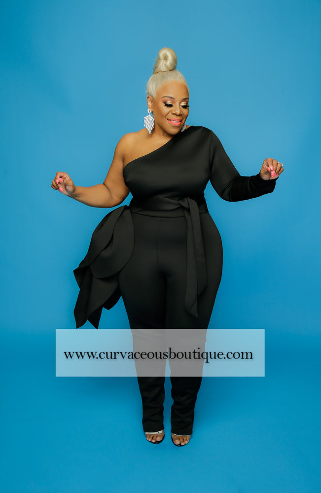 Black Cascading Voluptuous Jumpsuit