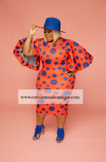 Orange & Blue Polka Dot Dress