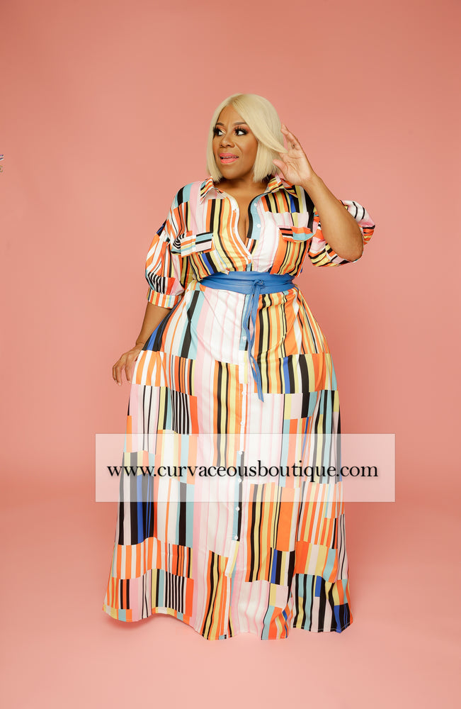 Orange Delta A-Line Dress/Duster