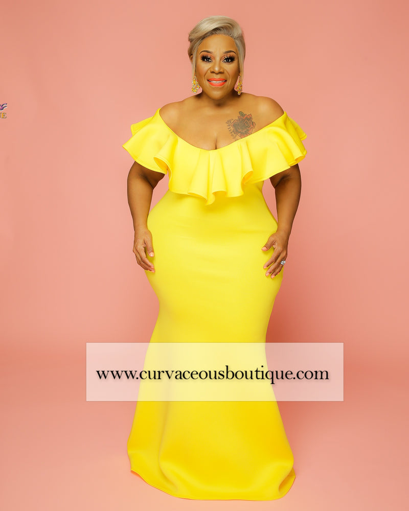 Yellow Chandler Ruffle Gown