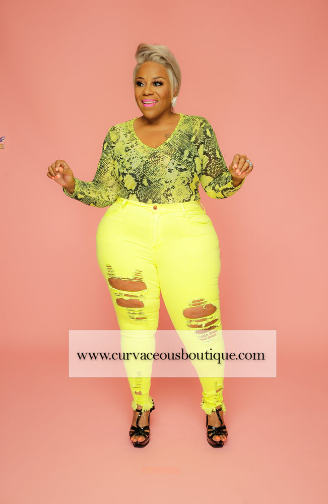 Yellow Snake Print Body-Suit