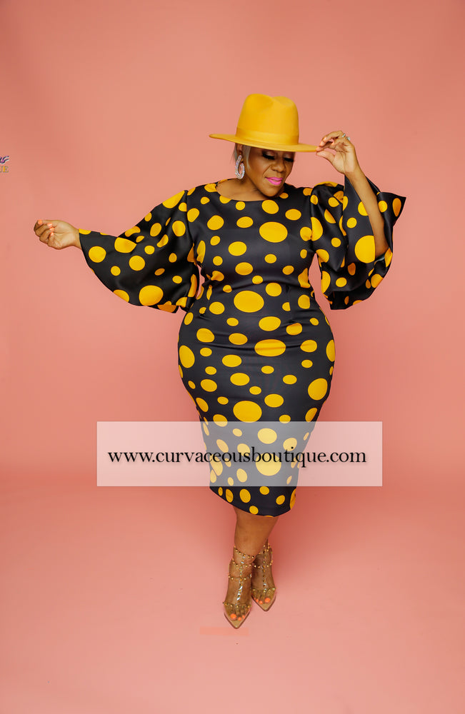 Navy & Mustard Polka Dot Dress