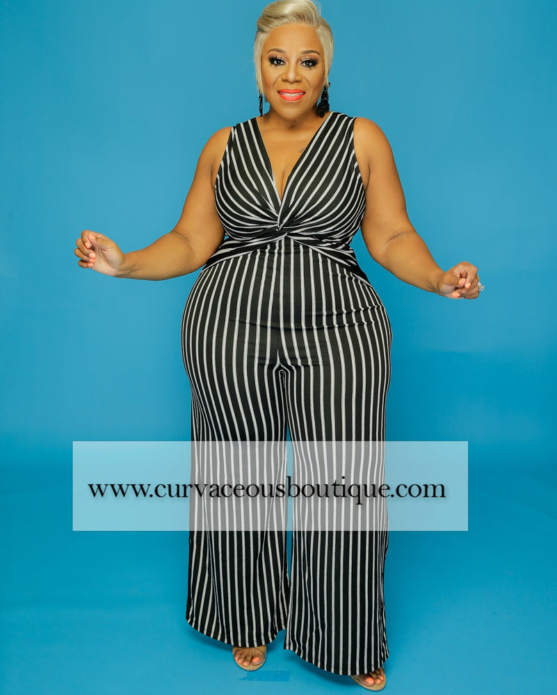 Black Stripe Knot Jumpsuit