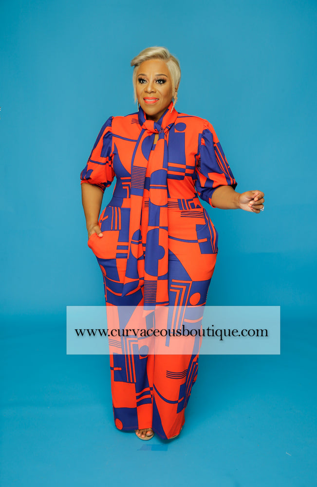 Orange & Blue Abstract Jumpsuit