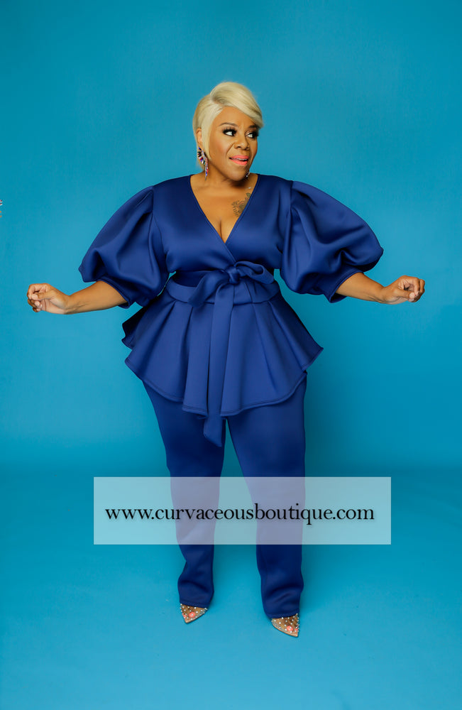 Royal Blue Voluptuous Balloon Sleeve Set