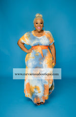 Orange Tye Dye Dress Set