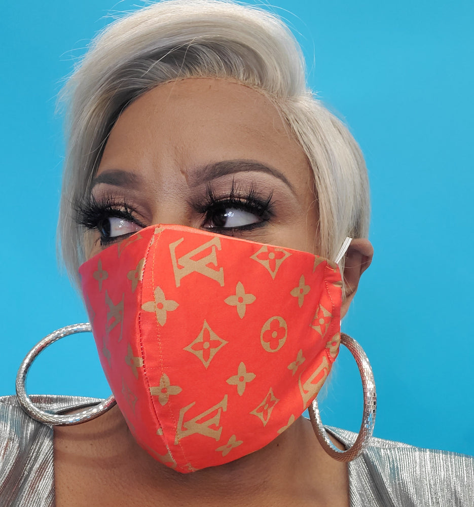 Orange LV Inspired Face Mask