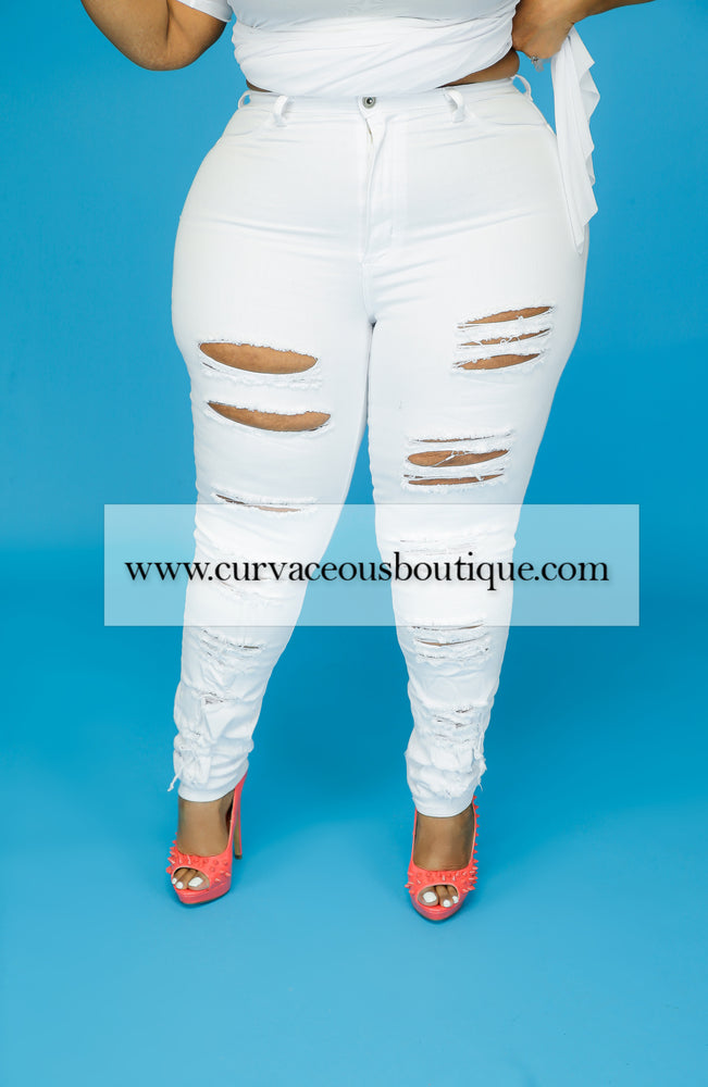 White Double Side Ripped Jeans