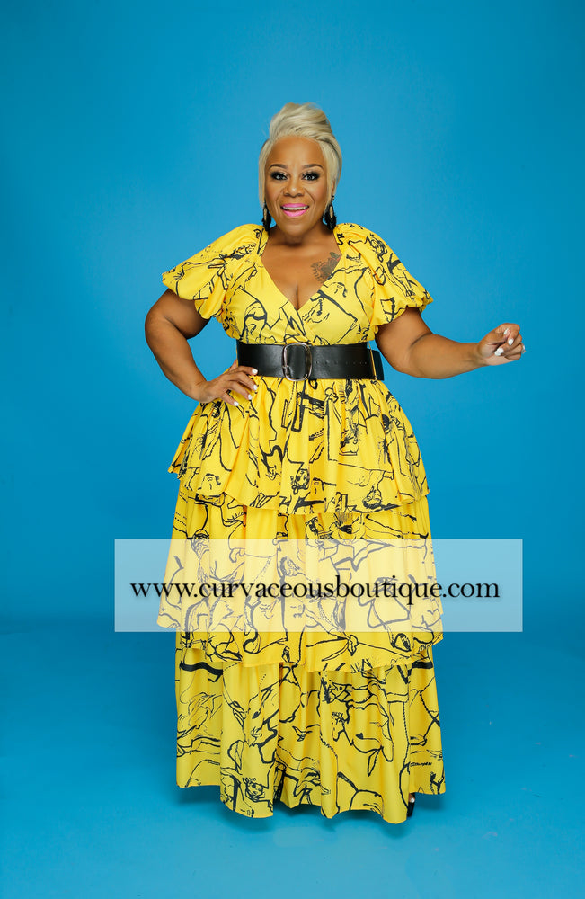 Yellow Bumblebee Tier Dress