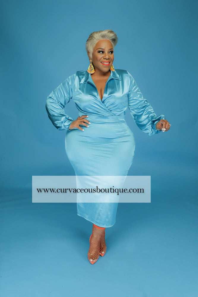 Ocean Blue Satin Skirt Set