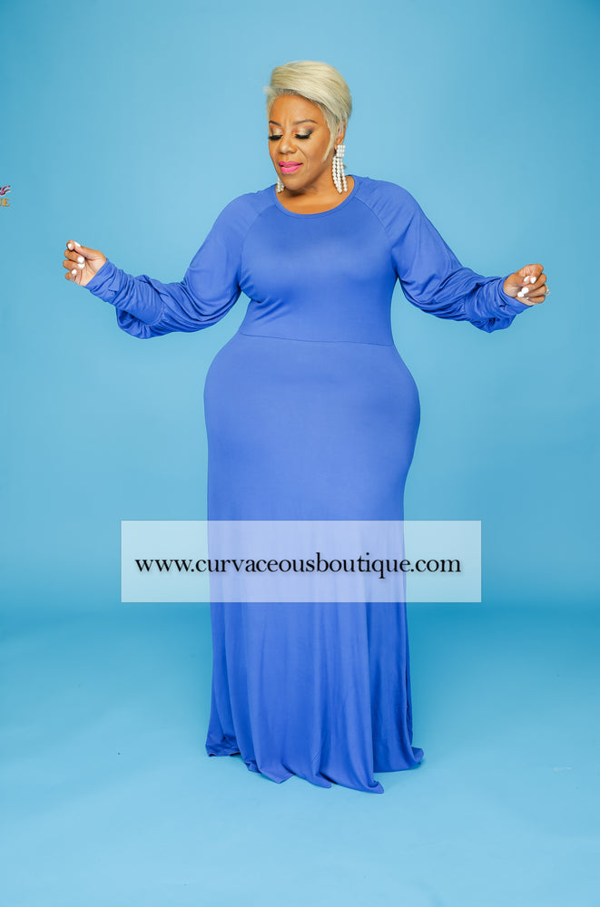 Royal Blue Halo Puff Sleeve Dress