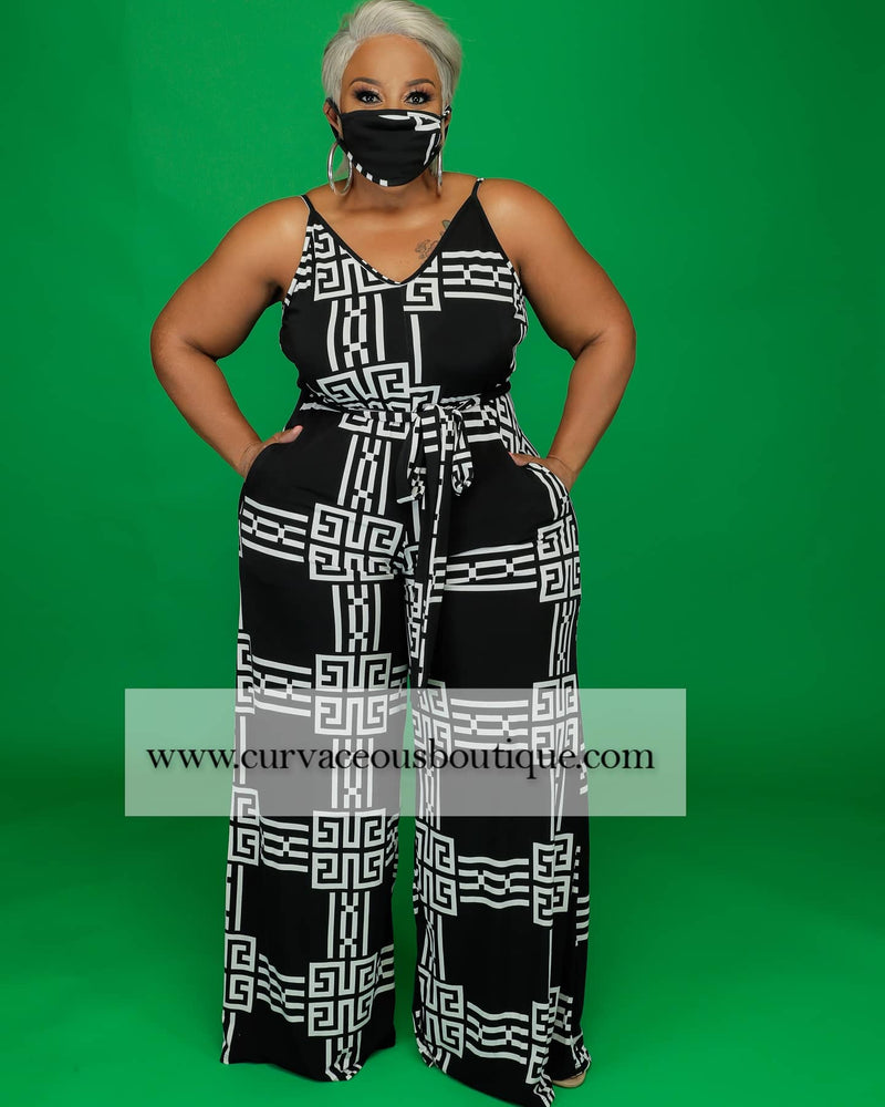 Black Greek Print Jumpsuit