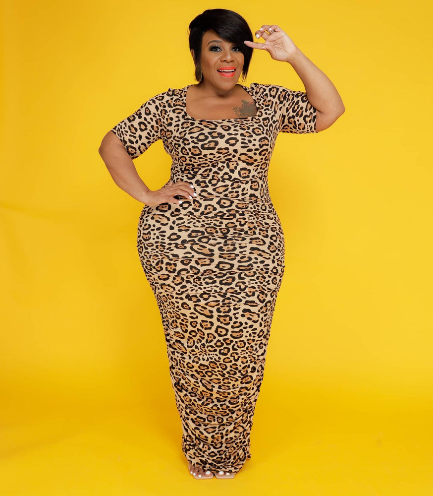 Brown Leopard Ruched Dress
