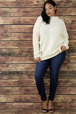 Ivory Eyelet Lace Up Sweater Top