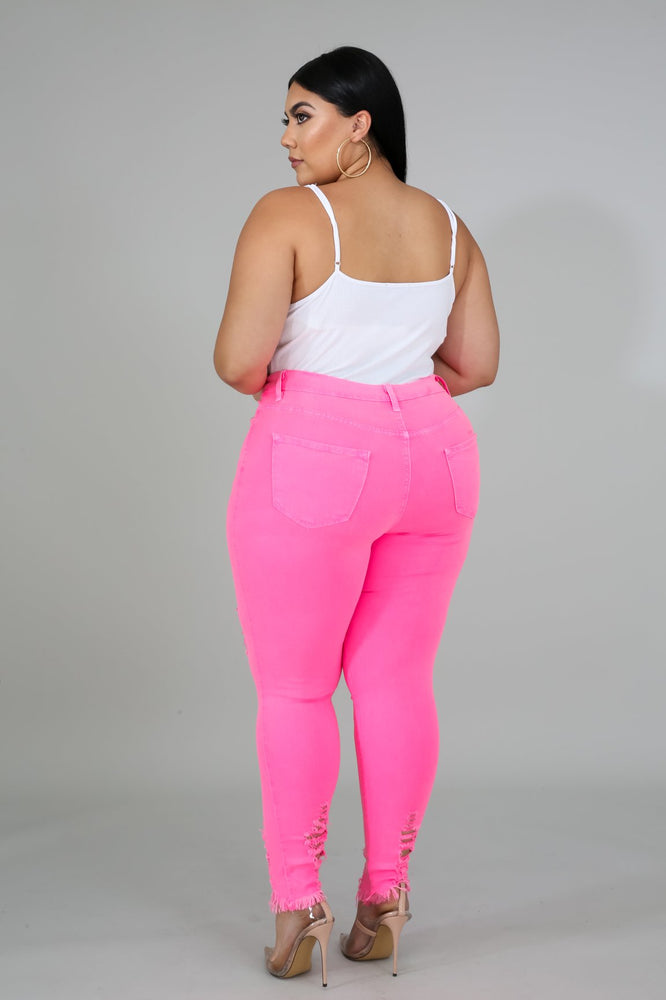 Neon Pink Distressed Jeans